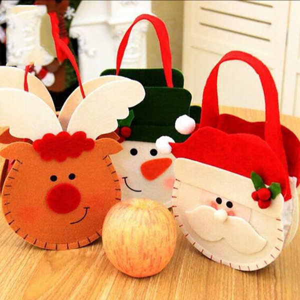 Cute Cartoon Elk Gift Holders Bags Candy Chocolate Bag Package Pouches Handbag Christmas Decoration Supplies Free Shipping