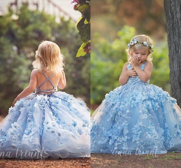 3D Floral Gorgeous Floor Vestidos de niña de flores largos 2019 Soft Blue Little Girl Pageant Dress Infant Toddler Lace Up Back Hecho