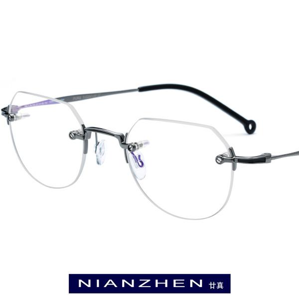 Titane pur monture de lunettes hommes petit polygone vintage cadres optiques sans monture lunettes pour femmes Lunettes Lunettes 9142