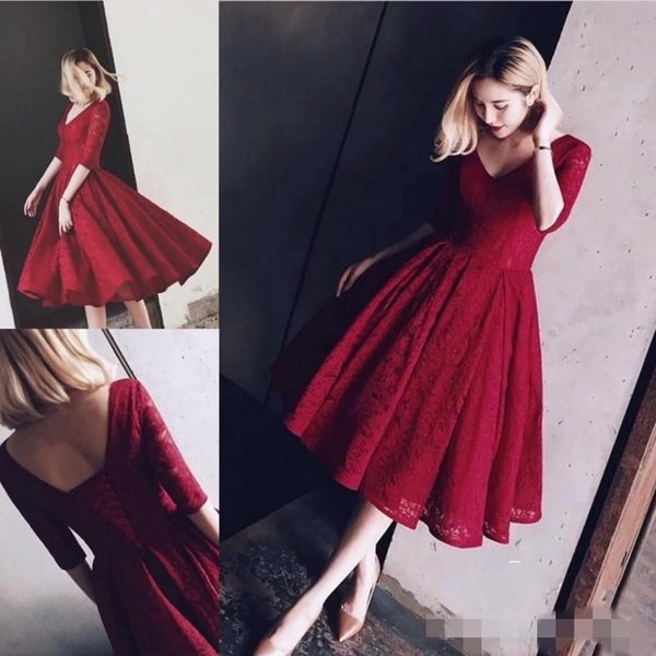 2019 Vintage Dark Red Lace Prom Dresses V Neck A Line 1/2 Sleeves Plus Size Formal Occasion Wear Tea Length Evening Party Gown
