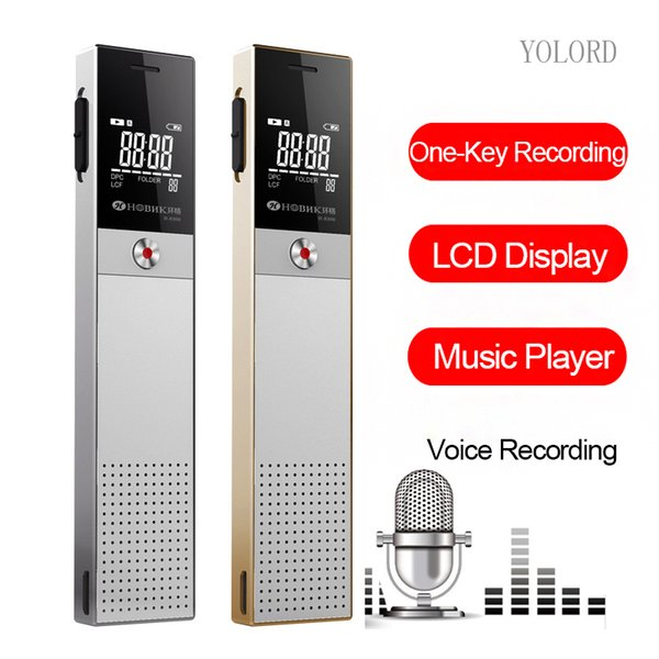 Mini schermo LCD Smart Activated Digital Audio Registrazione vocale Reporter Ineteview Pen Recorder Speaker Repeat Player Mp3 8G / 16GB