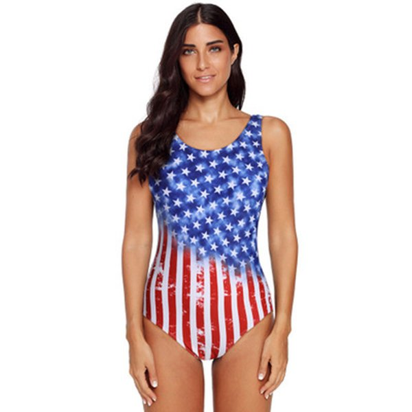 Ladies One-piece Ombre American Flag Stars Striped Printing Beach Swimwear Summer High Elastic Solid Cross Back Swimsuit Breast Pad Bikini