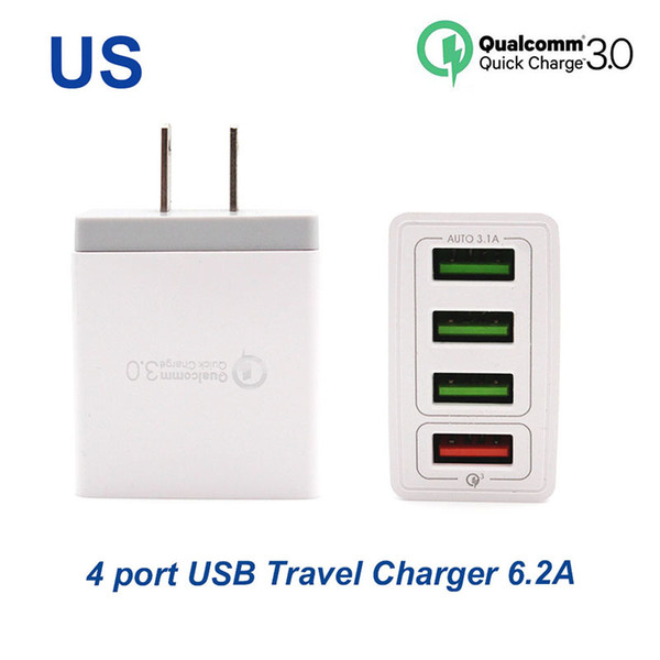 best selling Quick charger3.0 Fast charger 4 Ports travel charger 6.2A USB Charger For Samsung Galaxy S8 Xiaomi 5 For iPhone Adapter EU US Plug