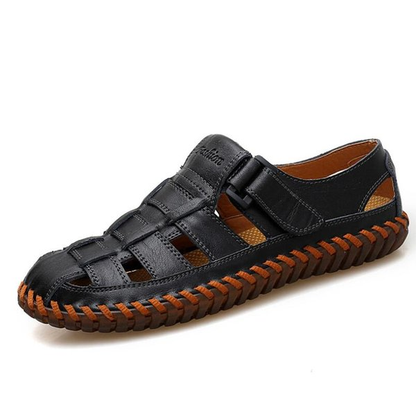 Hot Sale Summer Men Cow Leather Sandals Outdoor Handmade Men Flat Men Breathable Casual Shoes Footwear Walking Sandals EUR Size 38-48