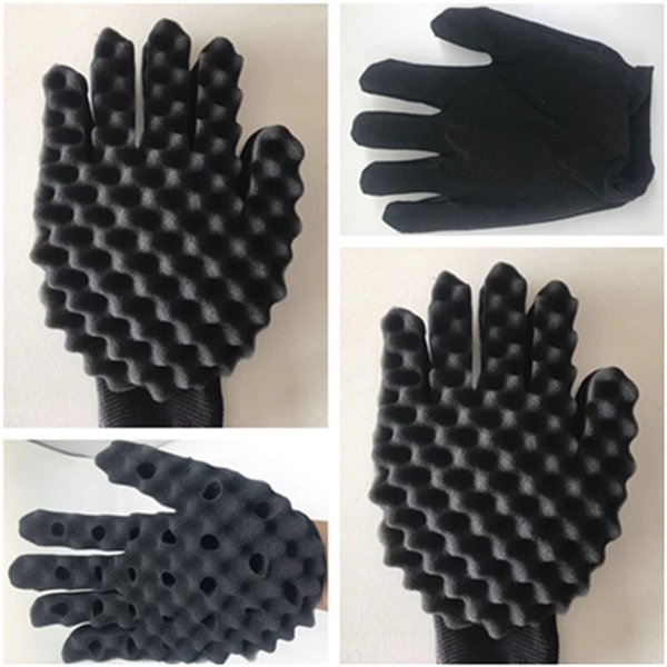Curly Gloves Curls Coil Magic Tool Sponge Gloves Hair Care Head Massager Wave Barber Hair Brush T9I0059