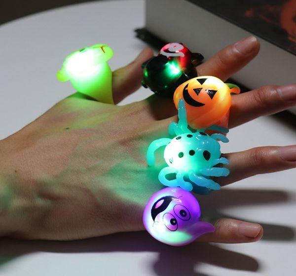 140 pçs / lote Libélula Aranha Abóbora Anel de Halloween Brinquedos Anéis de Plástico Engraçado Crânio Brinquedos Favores do Partido Presentes Adereços de Halloween Suprimentos YH1869