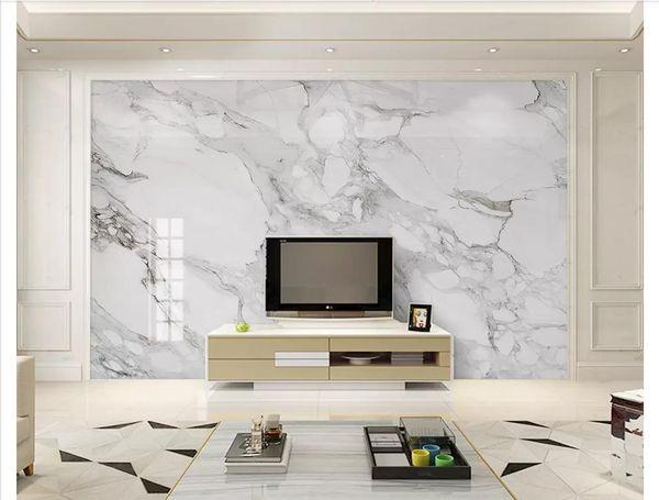 top popular 3D wallpaper custom photo silk mural wallpaper home decoration HD Jazz White Marble Living Room TV Sofa Background Wall Papel de parede 2021