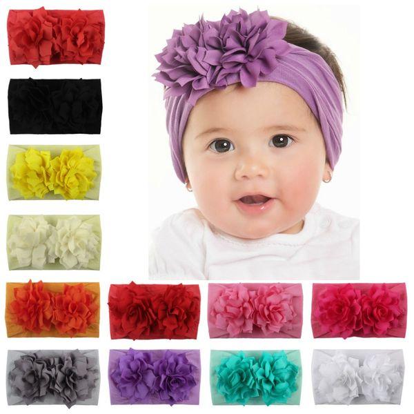 Baby Girl Headbands Two Flowers Kids Hairband Headband Big Floral Elastic Hair Bands Head Wrap Baby Hair Accessories
