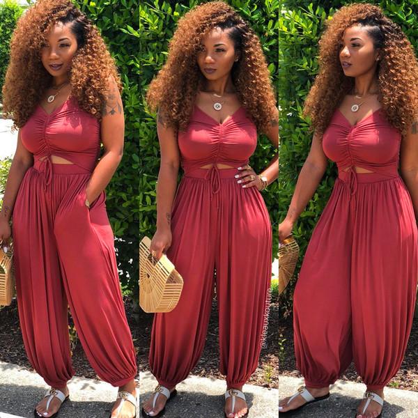 Kadınlar için kırmızı Tulumlar 2019 Moda Yaz Kolsuz Halter Tulum Bodysuit Seksi Bodycon Pileli bloomers streetwear Giysileri