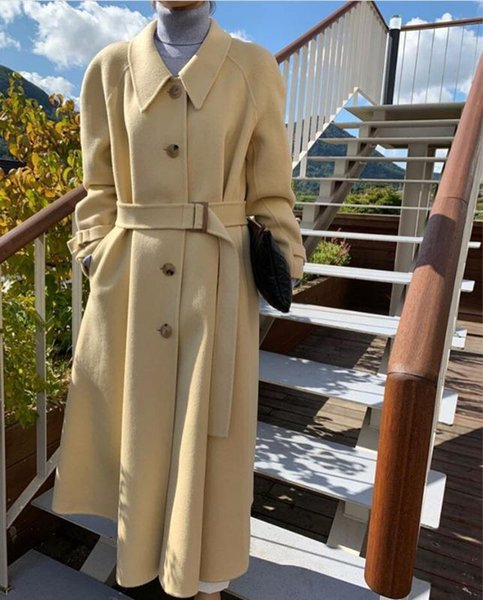 WAVSIYIER korean elegant long coat jacket women autumn winter outwear long single-breasted belt runway fashion overcoat 2020 new