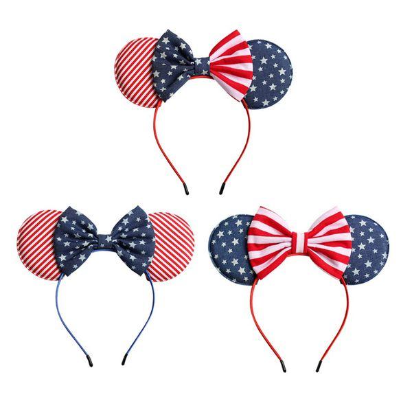 Amerikanische Flagge Baby Mädchen Bogen Stirnband Kinder Maus Ohr Sterne Streifen Haar Sticks Kinder Headwear Boutique Haarschmuck C6335