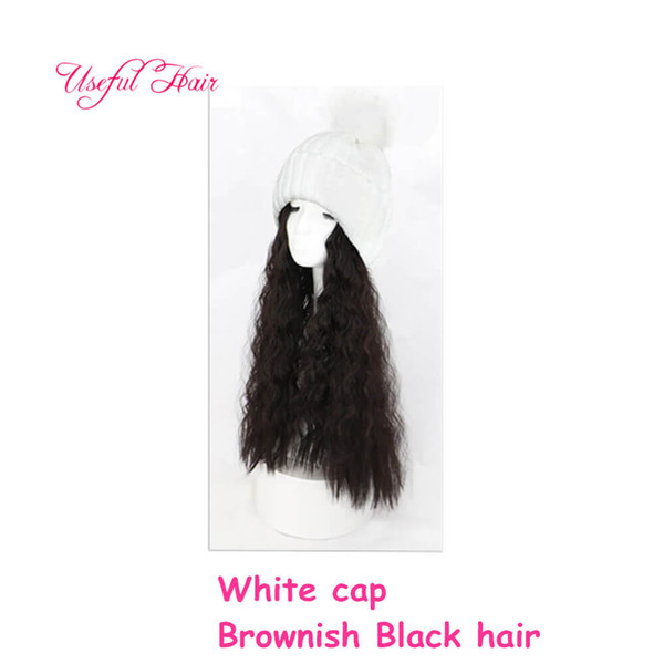 White cap brownish black Curly hair