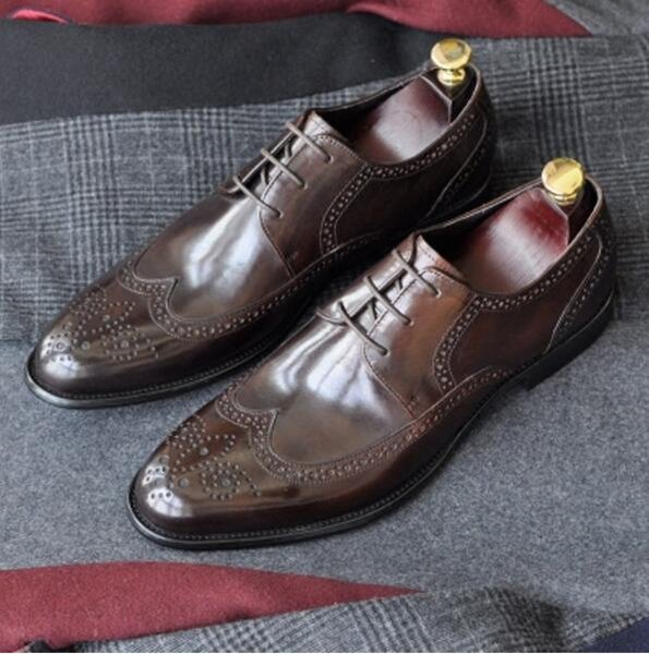Handmade Male Monk Shoe Party Wedding Dance Brand Casual Genuine Leather Mens Dress Shoes 2018 Lace-up Borgues Oxfords