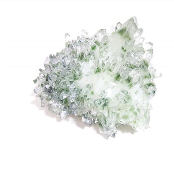 Clúster cristalino fantasma verde natural al por mayor del cristal de cuarzo fantasma para la decoración casera