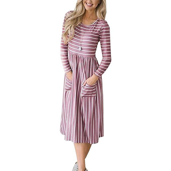 Robe Rayée Automne Nouvelle Arrivée À Manches Longues O Cou Femmes Robes Casual Pockets Midi Robe De Travail Streetwear Robes Mujer