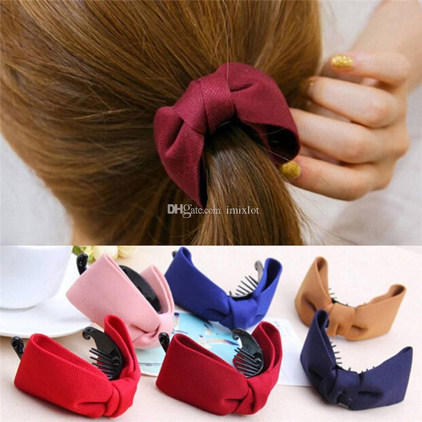6pcs Sweet Fabric Bow Hair Claw Elegant Women Solid Cloth Ties Banana Hair Crab Clips Ponytail Hold Girls Hair Accessories
