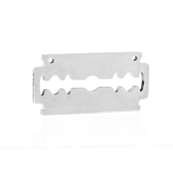 Male Punk Razor Shaver Blade with 2 Loops Blank Pendant Mirror Polish Stainless Steel Tag Charm Wholesale 100pcs