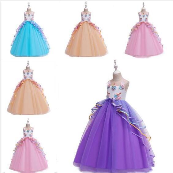 Ropa de diseño del unicornio princesa Party partido del unicornio vestir a las niñas la ropa del vestido de los vestidos de boda elegante traje para regalos femeninos 7 tamaños