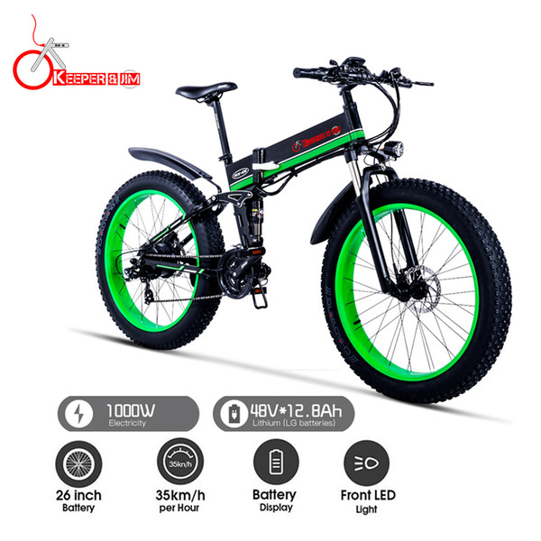 top popular K&J 1000W electric ATV black 26 inch oil brake snowmobile mountain bike mountain bike bicycle aluminum folding e-bike 2020