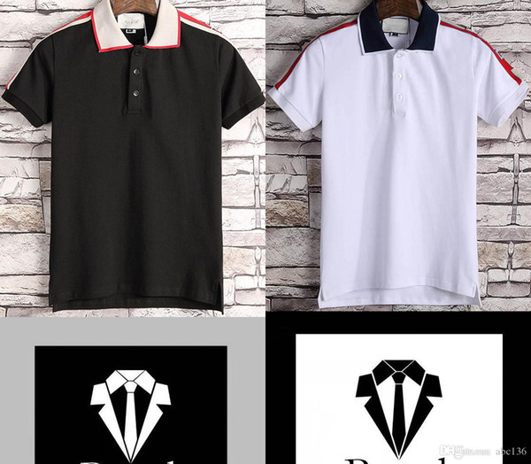 Novo polo designer de luxo dos homens de luxo clássico polo T-shirt dos homens casuais cobra mel carta impressão bordado camisa Polo