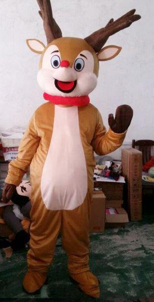 2018 High quality EVA Material Helmet Rudolph Red Nose Milu deer / Reindeer Mascot Costumes Cartoon Apparel