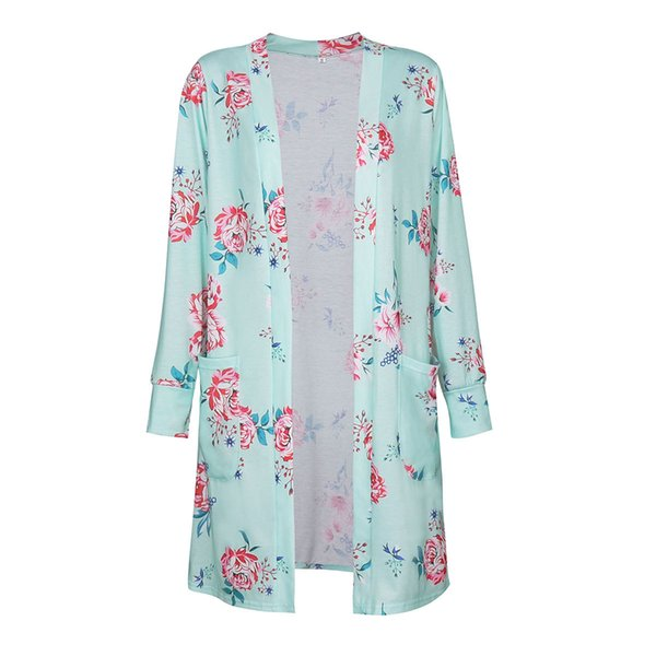 Floral Loose Jackets Outwear Casual Kimono Long Sleeve Cardigan Cotton Autumn And Winter Europe and America Thin Coats
