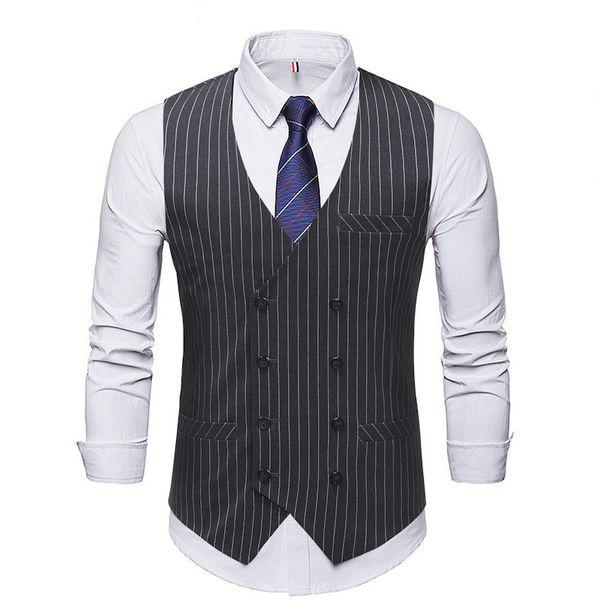 Pop2019 Anzug des Außenhandels und des Gentleman-Mannes sowohl Reihe Schnalle vertikale Streifen Weste Geschäft Beruf Kleid