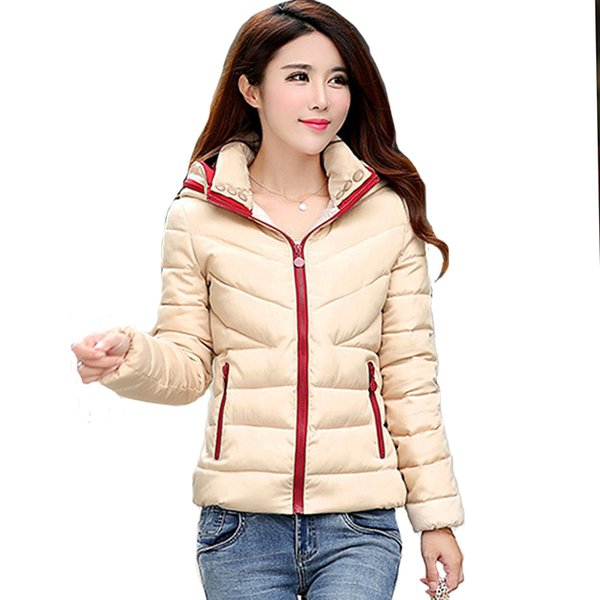 dbf1e145050 2018 New basic Jacket Women Autumn Winter Short Coats Solid Hooded Down  Cotton Padded Slim Warm Pockets Female Jacket Coats
