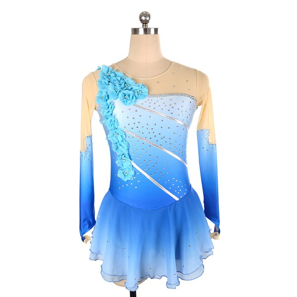 Eren Jossie 2019 New Arrival Ice Skating Competition Dress Girls Blue Hand Made Flowers Hot Selling in Europe