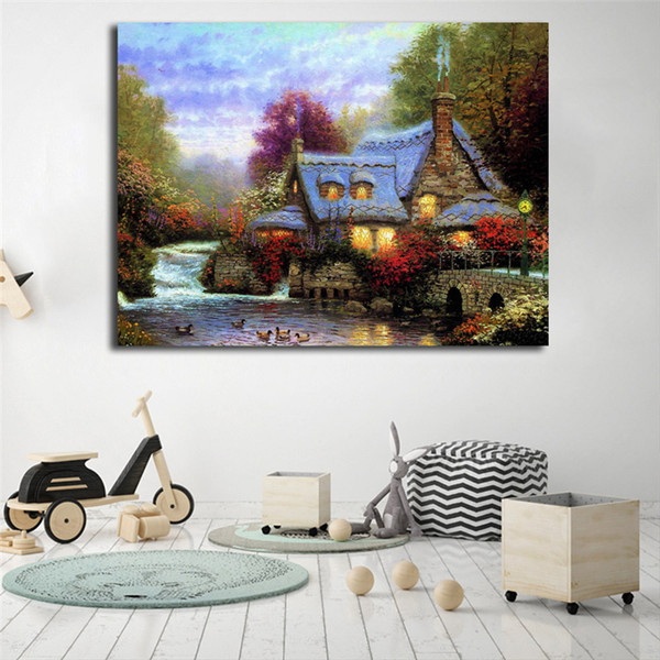 Thomas Kinkade The Miller's Cottage Canvas Painting Print Living Room Home Decor Modern Wall Art Oil Painting Poster No Frame