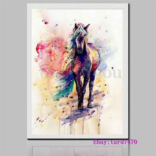 Watercolour Horse,1 Pieces Canvas Prints Wall Art Oil Painting Home Decor (Unframed/Framed) 24x36.