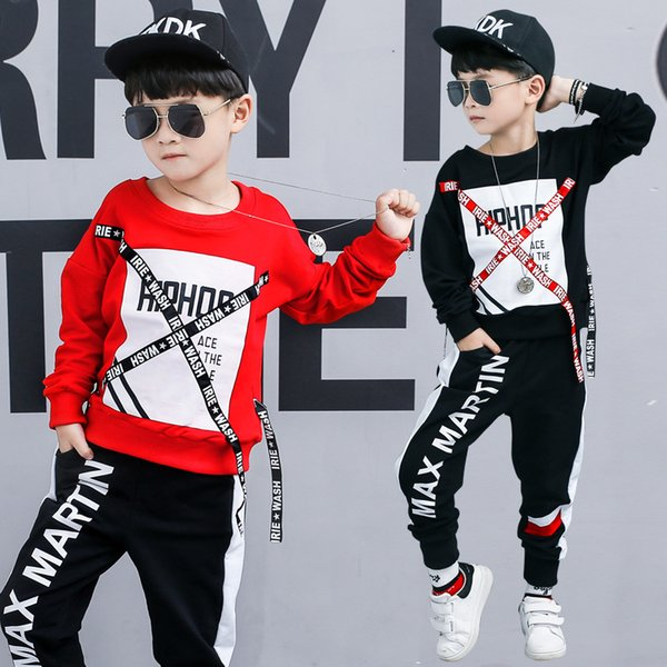 Children's clothing boy autumn suit 2018 new big children sports children spring and autumn handsome two-piece tide package generation