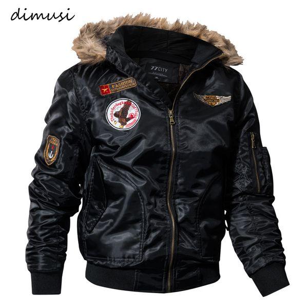 Giacca DIMUSI Mens inverno spesso dei cappotti termica del rivestimento Cotton Parka da uomo con cappuccio in pelliccia sintetica calda Tactical Jackets Parchi Homme, TA035 T200117