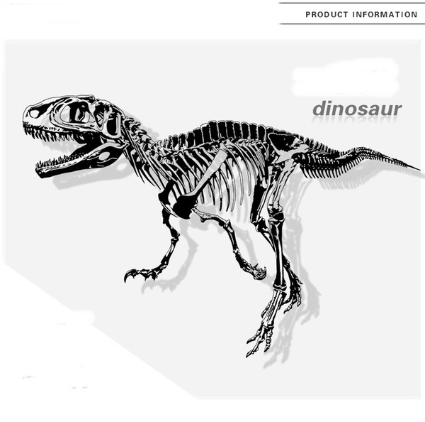 Black Dinosaur Wall Decals Vinyl Removable Large Tyrannosaurus Sticker Murals for Kids Room and Study Decor Dragon Wallpaper