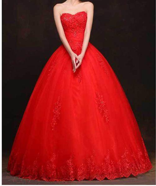Elegante abito da ballo rosso abito da sposa pavimento lunghezza abiti da sposa pieghe tulle organza applique floreale con perline abito da sposa a buon mercato