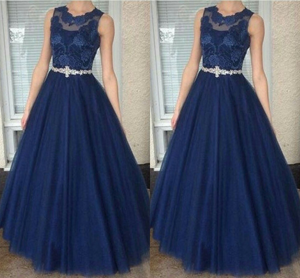 Compre Vestido De Fiesta De Encaje Azul Marino Una Línea Vestidos De Noche Joya Pura Manga Casquillo Fajas De Cristal Vestidos Vestido De Noche Dulce