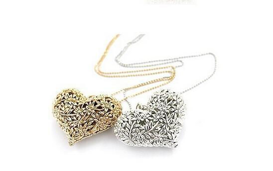 Heart Shape Necklace Wholesale Pendant Woman Girl Sweater Jewellery Long Necklace Gold Plated Charms Heart Peach Love Pendant Necklace Chain