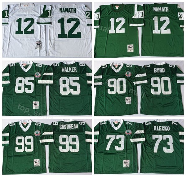 100% authentic 3b331 48076 2019 Vintage New York Men Football Jets 12 Joe Namath Jersey 73 Joe Klecko  99 Mark Gastineau 90 Dennis Byrd 85 Wesley Walker Green From ...
