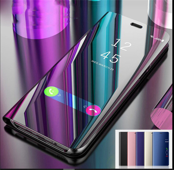 Mirror Phone Case For Samsung Galaxy S6 Edge Plus Note5 iPhone X 6 6s Huawei P9 Case Smart View Flip Stand Leather Cover