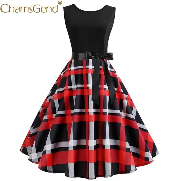 Newly Design Elegant Lady Vintage Women Sleeveless Red Plaid Dresses 50s 60s Pin Up Party Dress Woman Summer Clothes 81227 C19040301