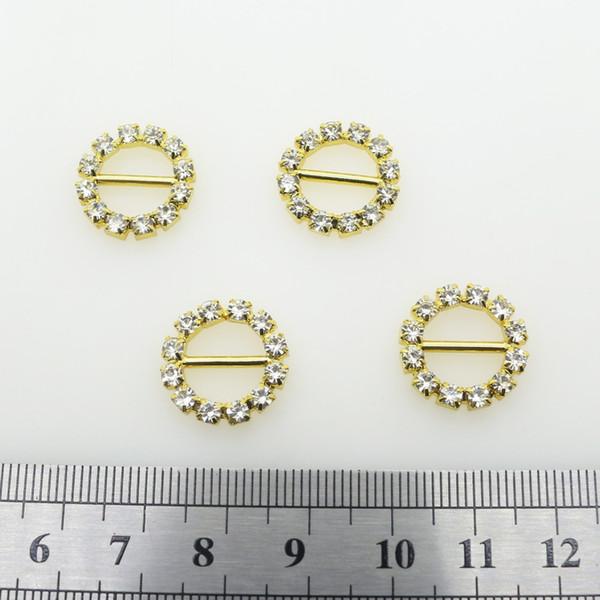 Compre 50 Unids / Lote 16 MM Rhinestone Hebillas De Metal De Oro ...