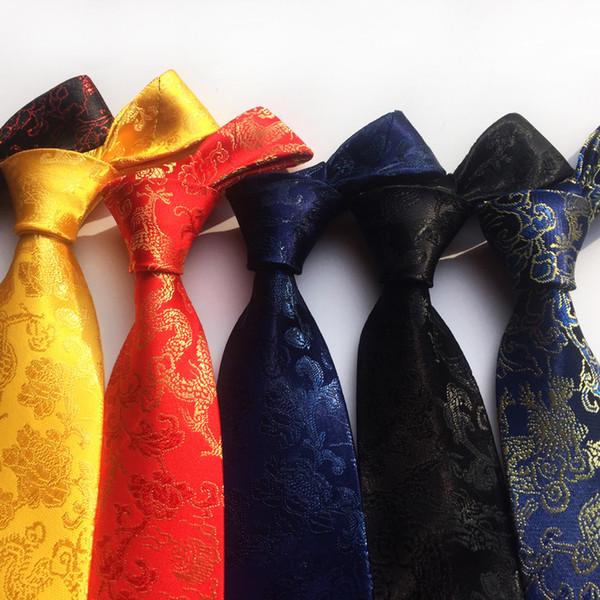 2019 Nouvelle Arrivée Nouveau Design Brocart Tissu Festif Chinois Dragon Motif De Mariage Cravate Marié Cravate Rouge Noir Vin Rose Brun Cravate