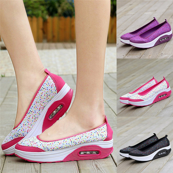Femmes Outdoor Sneakers Mesh Casual chaussures de course Chaussures de sport Chaussures à semelle épaisse Air Cushion Sneakers # 2S05