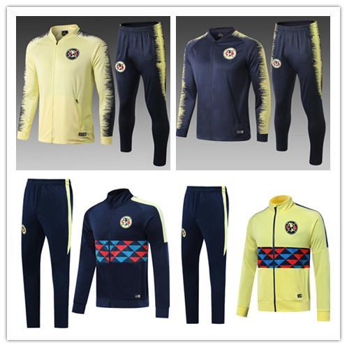 2019 México Liga MX América manga larga chaquetas del fútbol del kit 19/20 GUERRON CALDERON Club América de fútbol conjunto chaquetas de chándal