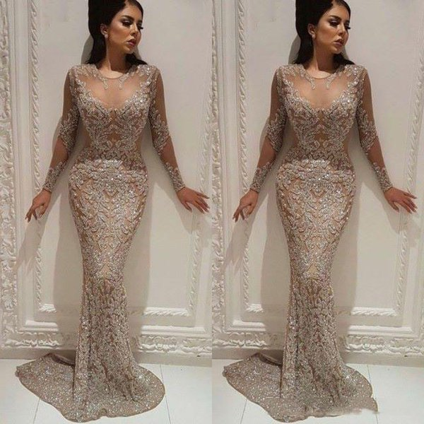 Champagne Glittering Sheath Evening Prom Dress Illusion Memriad Long Beaded Appliqued Formal Party Gown 2019 Sheer Neck Pageant Dresses