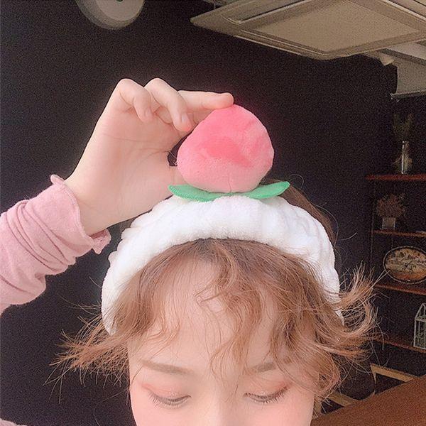 Cute Peach Headband Women Hair Band Wash Shower Make Up Elastic Band On Head Bathroom Shower Caps