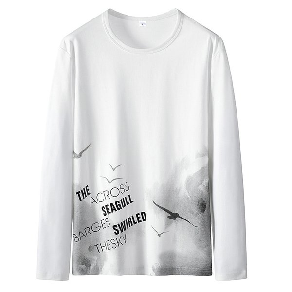 Luxury Men's T Shirt Autumn T Shirt Long-sleeved Sweater Men's Round Neck Spring and Autumn Wild Shirts Casual