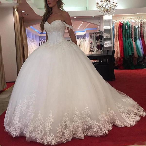 Lace branco apliques vestido de baile vestidos de casamento 2019 querida frisado princesa vestidos de noiva robe de mariee