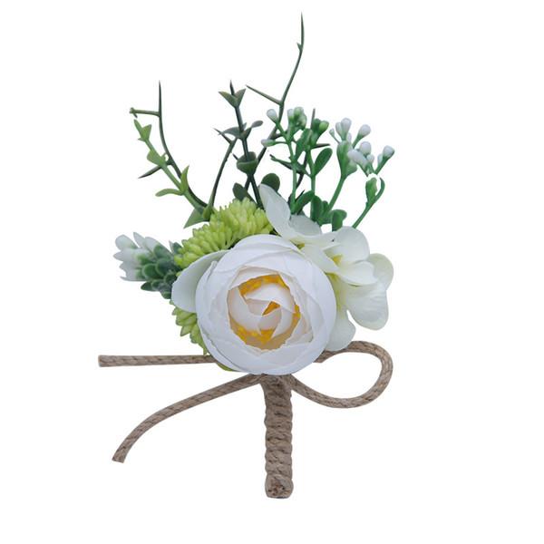2019 rose artificiali bianco rosa da sposa corpetti e fiore all'occhiello fiore corpetto matrimonio prom spilla spilla