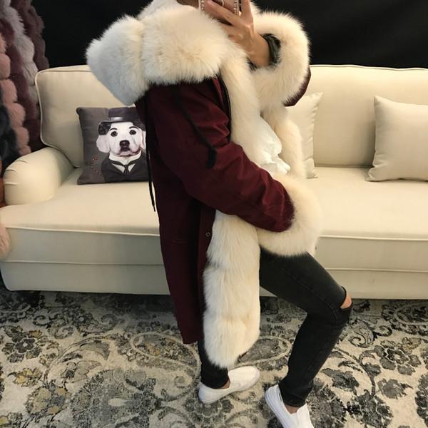women real fur parka high quality lady natural fur parka rex lining fox collar